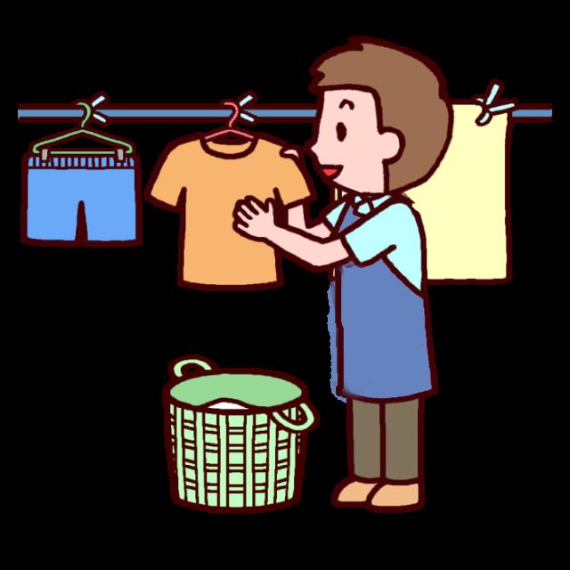洗濯物とりこみ